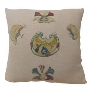 19th Century Pink Suzani Applique Embroidery Antique Textile Pillow