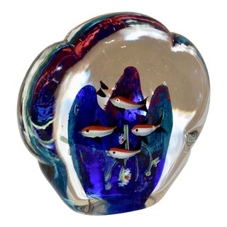 Murano Double Sided Fish Aquarium Paperweight For Sale