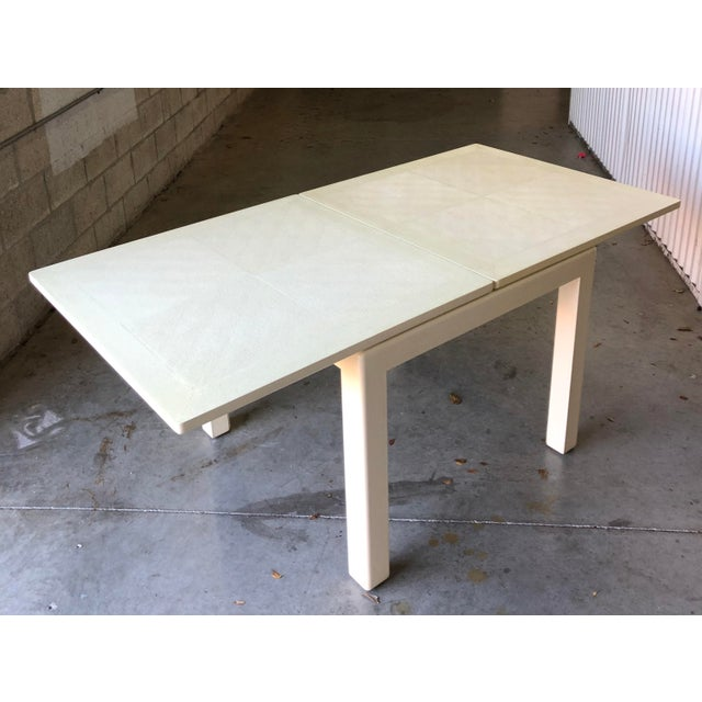 Leather Minimalist White Reptile Leather Wrapped Square Flip Top Dining Table For Sale - Image 7 of 13