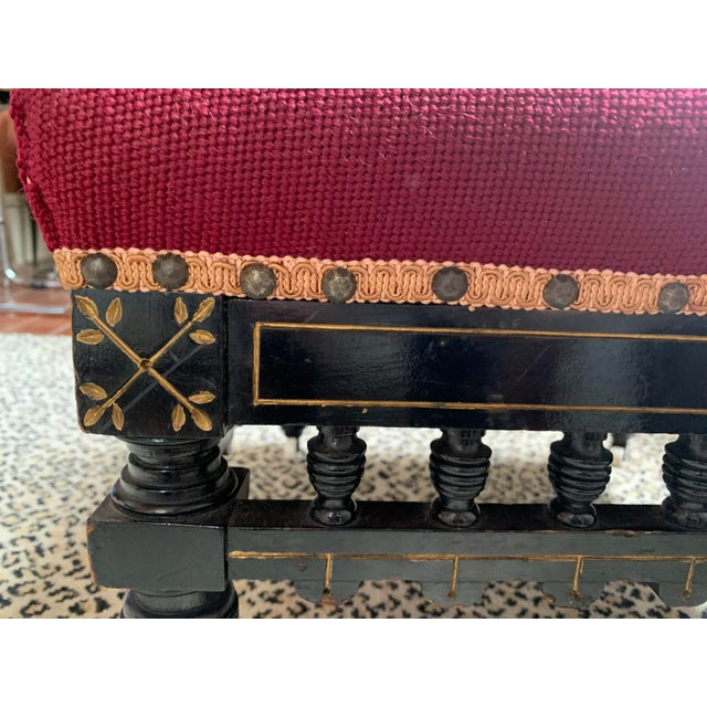 Ebonized Aesthetic Movement Tabouret on Casters For Sale - Image 4 of 8