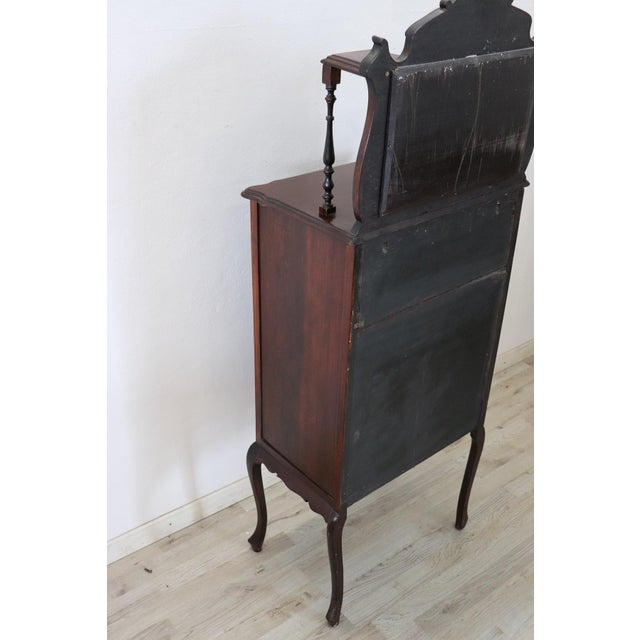 19th Century English Mahogany Carved Antique Vitrine or Display Cabinet For Sale - Image 6 of 11
