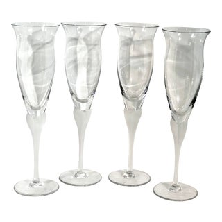 Vintage Mikasa Sea Mist Clear Frost Champagne Flutes Wedding - Set of 4 For Sale