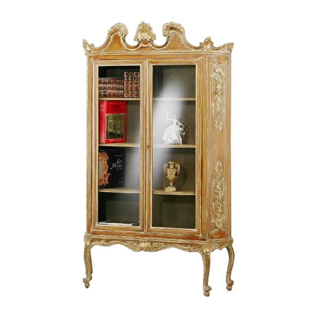 French Hand Carved Wood Bookcase - Image 1 of 4