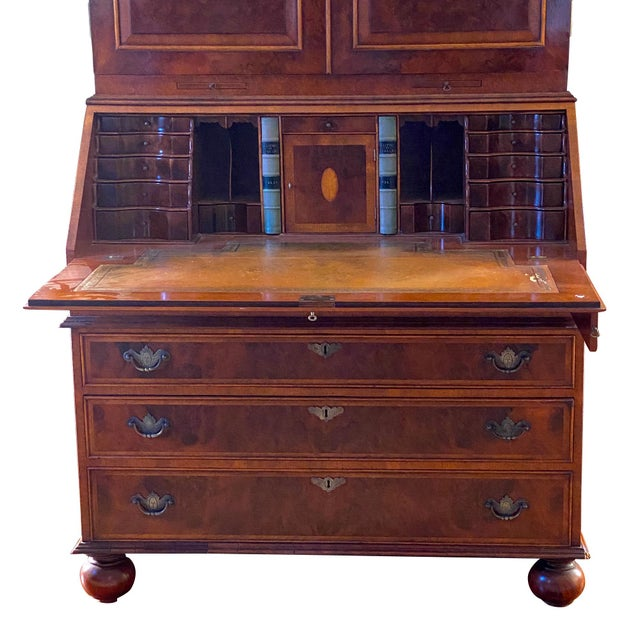 Wood Vintage English Queen Anne Style Walnut Secretary Bookcase For Sale - Image 7 of 9