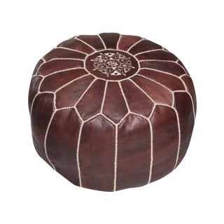 Moroccan Leather Pouf Brown For Sale