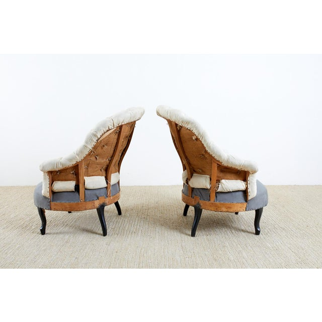 Pair of French Napoleon III Deconstructed Slipper Chairs For Sale - Image 11 of 13