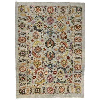 Contemporary Turkish Oushak Area Rug- 13′7″ × 18′5″ For Sale