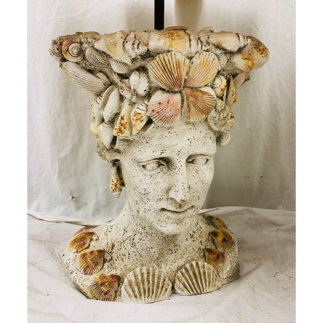 Red Pair Vintage Seashell Covered Bust Sculptural Lamps For Sale - Image 8 of 13
