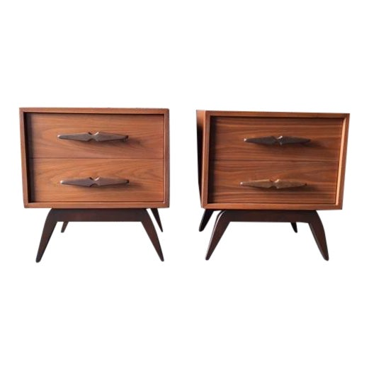 Mid-Century Sculpted Handle Nightstands - A Pair - Image 1 of 6