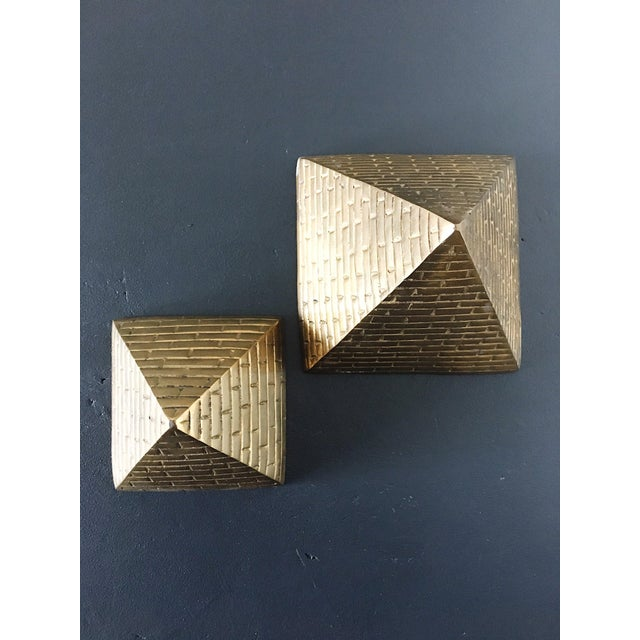 Egyptian Revival Brass Pyramid Bookends - a Pair For Sale - Image 3 of 5