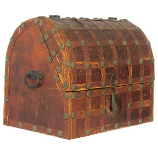 1950s Leather Dome Box For Sale