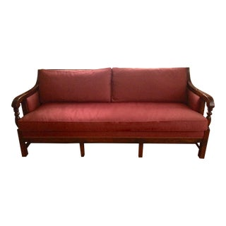 Hickory Chair Oxblood Red Upholstered Sofa Settee For Sale