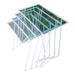 Glass Nesting Tables - Set of 4