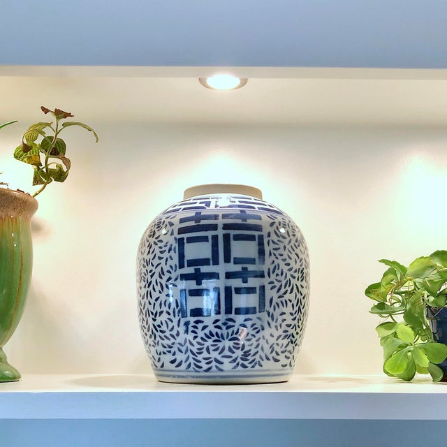 Double Happiness Ginger Jar With Blue and White Design Free Shipping For Sale In New York - Image 6 of 12