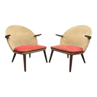 Pair of Kurt Olsen Lounge Chairs in Teak For Sale