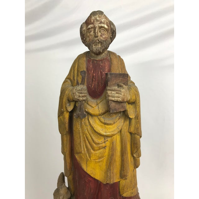 Wood Vintage Carved Wood, Paint & Gesso Santos Statue For Sale - Image 7 of 9