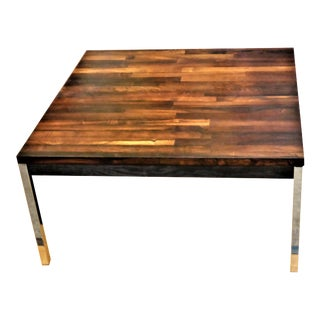 1960s Danish Modern Solid Brazilian Rosewood Staved & Chrome Coffee Table For Sale