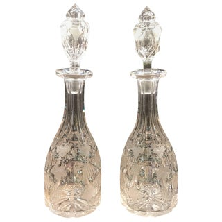 19th Century Victorian Crystal Wine Decanters - a Pair For Sale