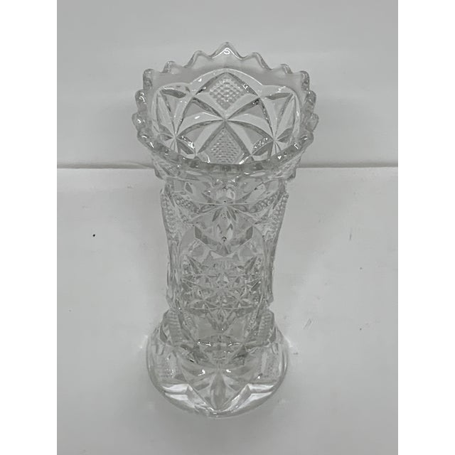 Beautiful petite vintage cut crystal vase. Elegant and gorgeous detail cuts. Stunning look for its size.