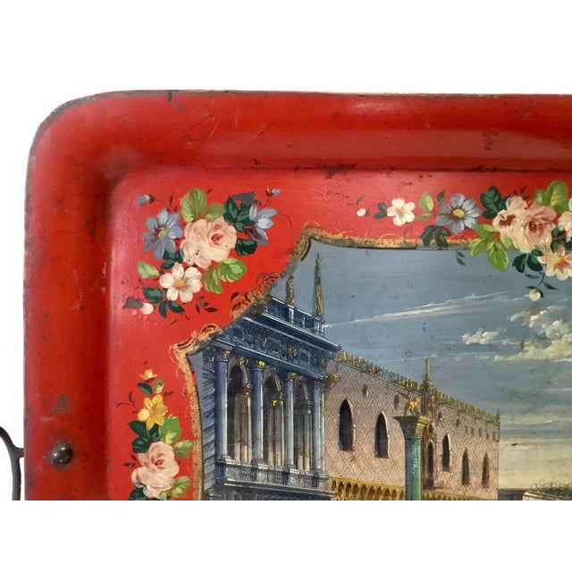 19th Century 19th Century Tole Tray Featuring a Hand Painted Italian Scene For Sale - Image 5 of 13