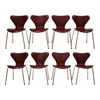 Red Leather and Chrome Dining Chairs - Set of 8