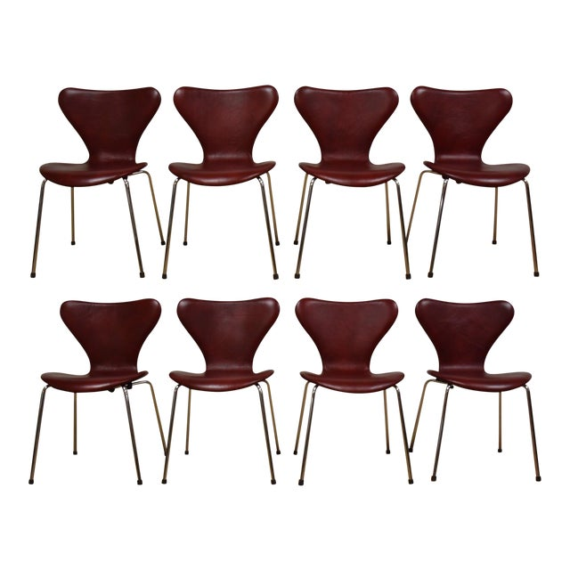 Red Leather and Chrome Dining Chairs - Set of 8 - Image 1 of 11