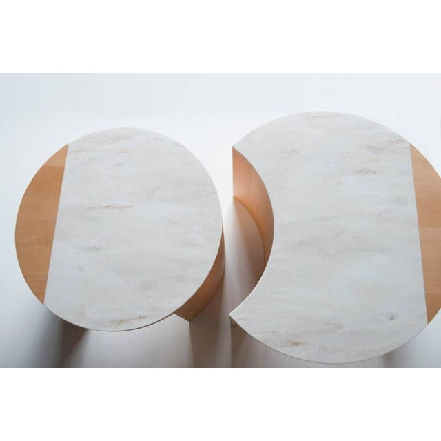 Wood Contemporary Gibbous Coffee Table in European Beech With Witch Hazel Corian. For Sale - Image 7 of 8