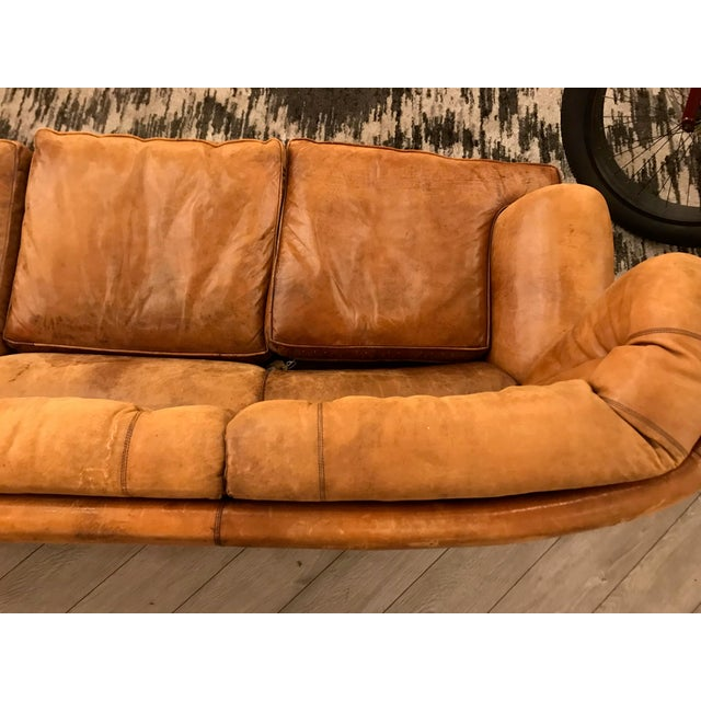 Animal Skin Large Leather Sofa For Sale - Image 7 of 11