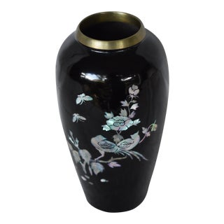 Copper Black Lacquer & Mother of Pearl Inlay Vase For Sale