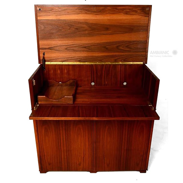 Mid-Century Modern Walnut Cabinet Desk For Sale - Image 9 of 10