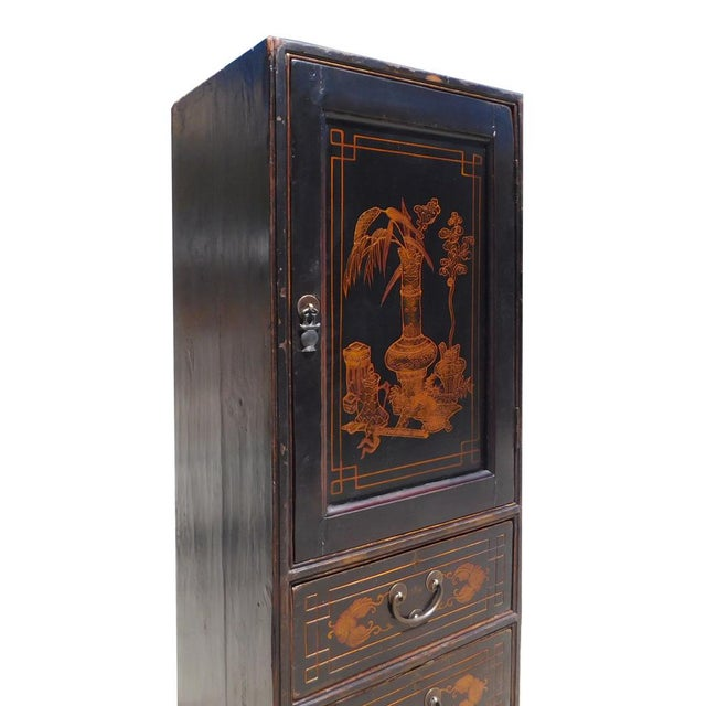 Chinese Vintage Golden Graphic Dresser Cabinet For Sale In San Francisco - Image 6 of 8