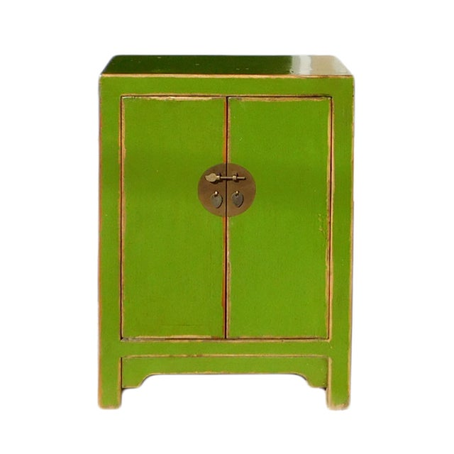 Chinese Rustic Lime Green End Table Nightstand For Sale