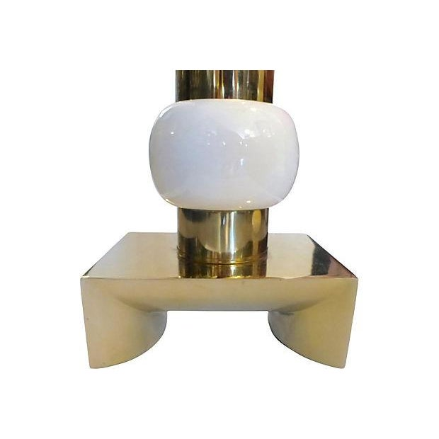 Mid-Century Brass and Ceramic Table Lamp For Sale - Image 4 of 5