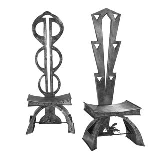 Pair of Augosto Dionisi Fabbro Steel Chairs For Sale