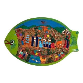 Folk Art Hand Painted Terra Cotta Fish Plate For Sale