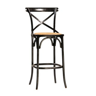 Black Painted Oak Bar Stool For Sale