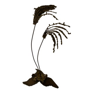Mid Century Brutalist Brass Torch Cut Palm Tree Sculpture For Sale