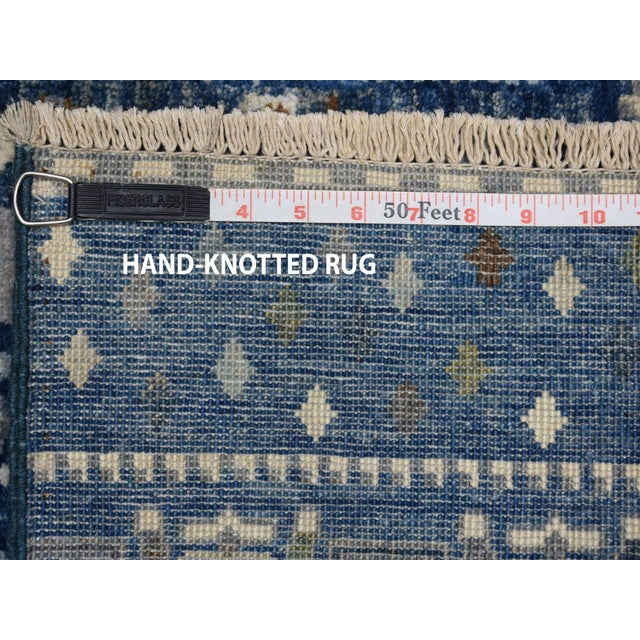 Denim Blue Kashkuli Gabbeh Pictorial Wool Hand Knotted Runner For Sale In New York - Image 6 of 7