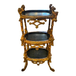 19th Century English 3 Tier Etagere With Chinoiserie Tray For Sale