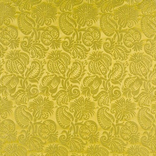 Suzanne Tucker Home Grenade Silk Damask in Chartreuse For Sale