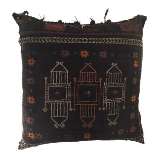 Handmade Antique Collectible Afghan Baluch Saddle Bag Tribal Large Floor Cushion For Sale