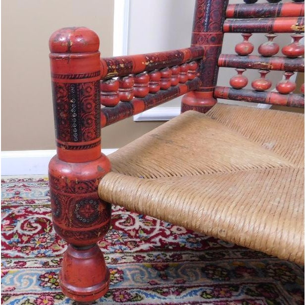Antique Indian Sankheda Red Lacquered Armchair - Image 8 of 10