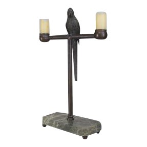 American (late 19th Cent) bronze life size parrot perched on a stand centering 2 candle holders and mounted on a rectangular green marble base