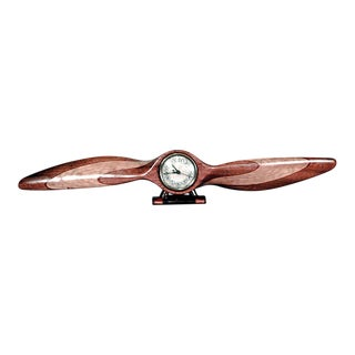 American Art Deco Light Wood Propeller Shaped Desk Clock