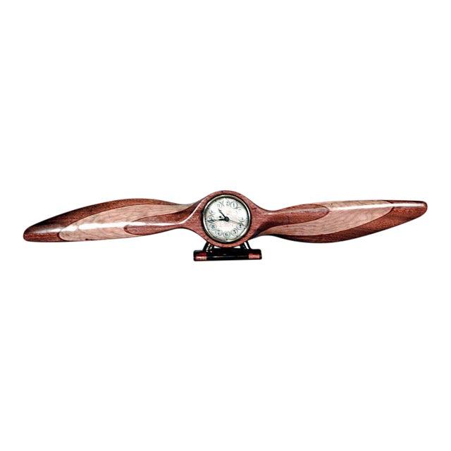 American Art Deco Light Wood Propeller Shaped Desk Clock For Sale