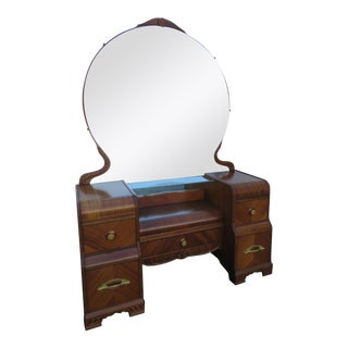 Art Deco Waterfall Walnut Vanity Dressing Table With Mirror For Sale