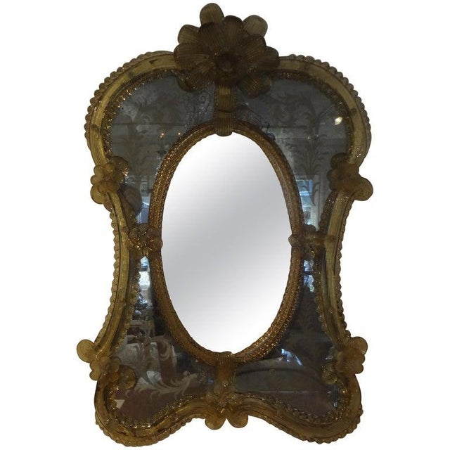 Antique Etched Venetian Mirror For Sale - Image 12 of 13
