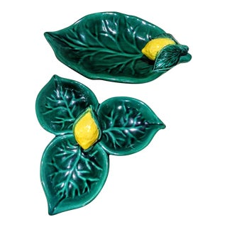 A Pair Decorative Large Ceramic Lemon Leaf Platters Trays For Sale