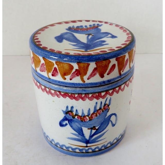 Blue Handpainted Italian Ceramic Container For Sale - Image 8 of 8
