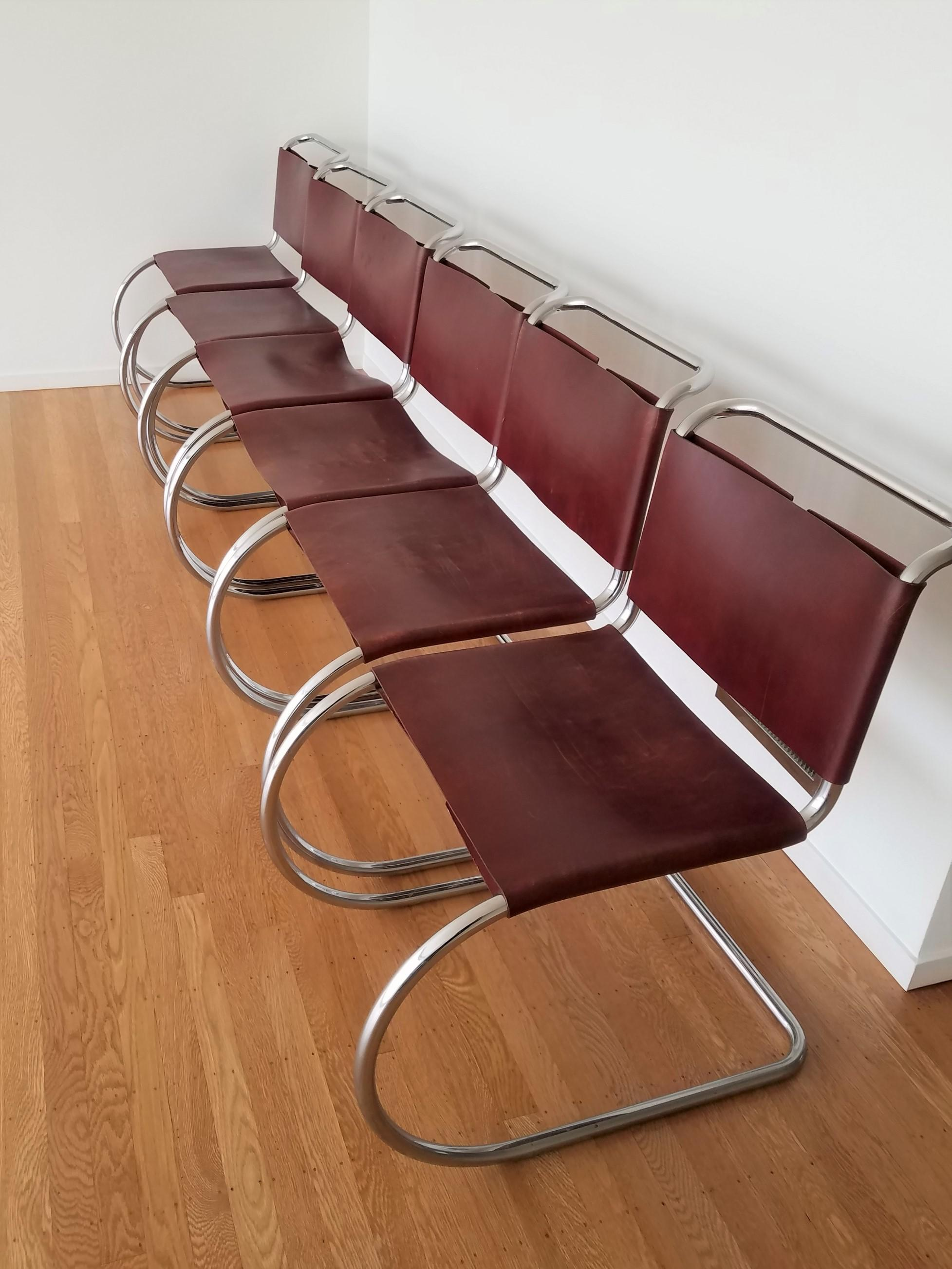 Superbe Iconic Minimalist Design, The MR Style Chairs Are A Thick Burgundy Leather  With Matching Rawhide